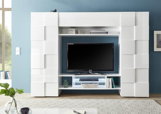 Treviso Wall Media Unit Including LED Spotlight - White Gloss Finish image 2