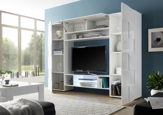 Treviso Wall Media Unit Including LED Spotlight - White Gloss Finish image 3