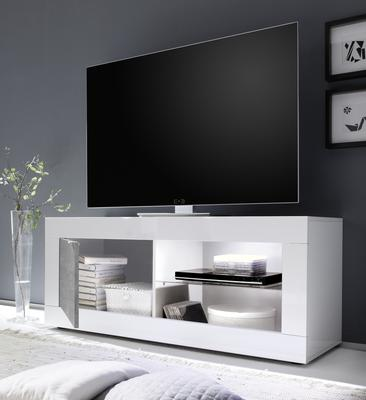 Urbino Collection Small TV Unit with Optional LED Spot Light - Gloss White and Grey Finish image 2