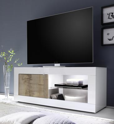 Urbino Collection Small TV Unit with Optional LED Spot Light - Gloss White and Natural Finish