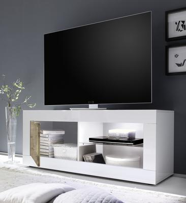 Urbino Collection Small TV Unit with Optional LED Spot Light - Gloss White and Natural Finish image 2