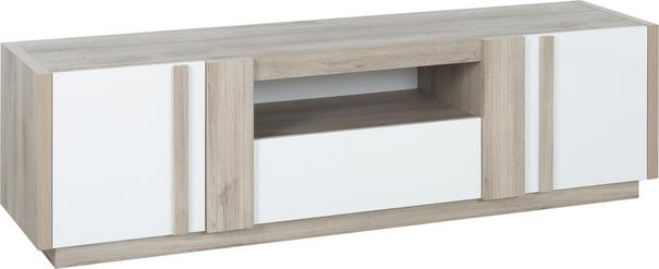 Aston TV Media Unit Two Door One Drawer - White and Light Oak or Black image 3