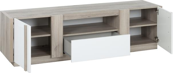 Aston TV Media Unit Two Door One Drawer - White and Light Oak or Black image 5