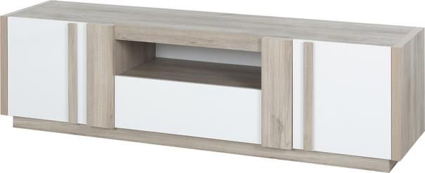 Aston TV Media Unit Two Door One Drawer - White and Light Oak or Black image 7