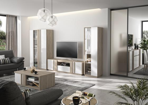 Aston TV Media Unit Two Door One Drawer - White and Light Oak or Black image 9