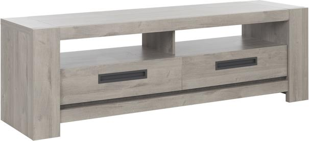 Boston TV Unit with Two Drawers - Light Grey Oak Finish