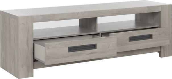 Boston TV Unit with Two Drawers - Light Grey Oak Finish image 3