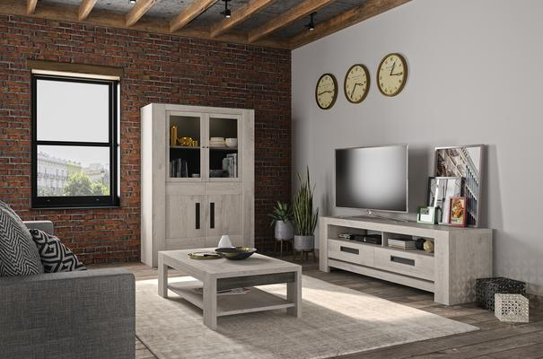 Boston TV Unit with Two Drawers - Light Grey Oak Finish image 4