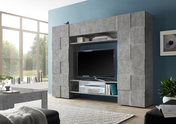 Treviso Wall Media Unit Including LED Spotlight - Grey Concrete  Finish