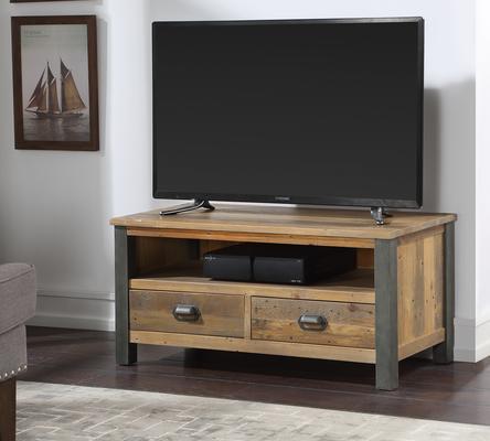 Urban Elegance Widescreen TV Cabinet Reclaimed Wood and Aluminium