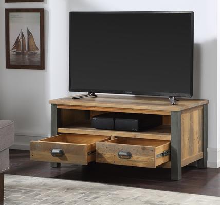 Urban Elegance Widescreen TV Cabinet Reclaimed Wood and Aluminium image 2