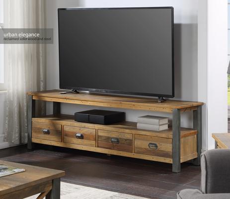 Urban Elegance Extra Large Widescreen TV Unit Reclaimed Wood and Aluminium