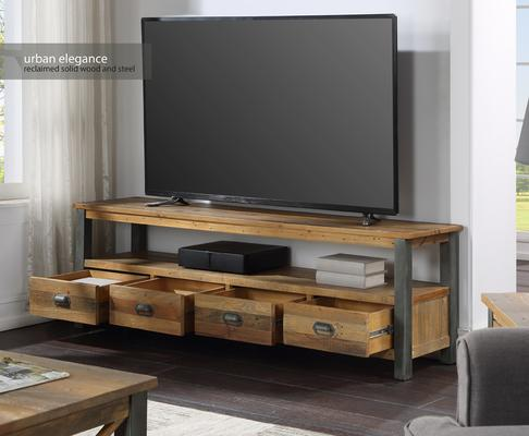 Urban Elegance Extra Large Widescreen TV Unit Reclaimed Wood and Aluminium image 2