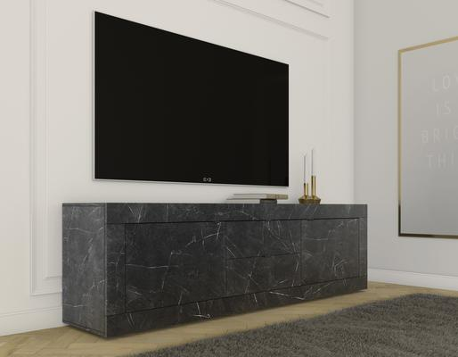 Urbino Collection Two Door Two Drawer Lowboard- Matt Black Marble Finish