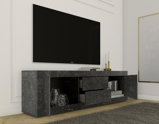 Urbino Collection Two Door Two Drawer Lowboard- Matt Black Marble Finish image 2
