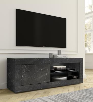Urbino Collection Small TV Unit with optional LED Spotlight - Matt Black Marble Finish