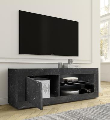 Urbino Collection Small TV Unit with optional LED Spotlight - Matt Black Marble Finish  image 2