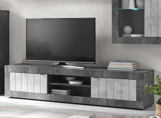 Como Large  TV Unit - Anthracite and Grey Finish