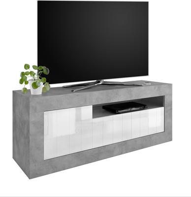 Como TV Unit - Grey and Gloss White Finish