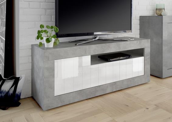 Como TV Unit - Grey and Gloss White Finish image 2