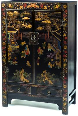 Shanxi Painted TV Cabinet, Black Lacquer