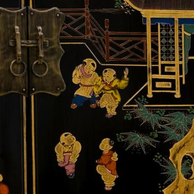 Shanxi Painted Cabinet, Black Lacquer image 2
