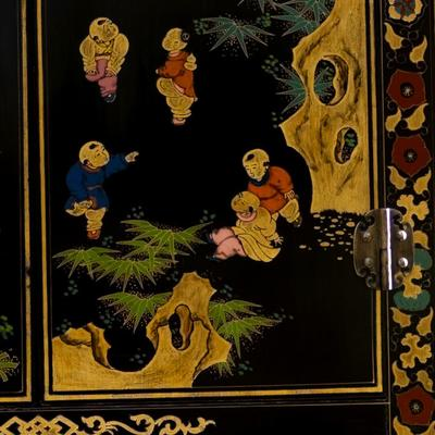 Shanxi Painted TV Cabinet, Black Lacquer image 3