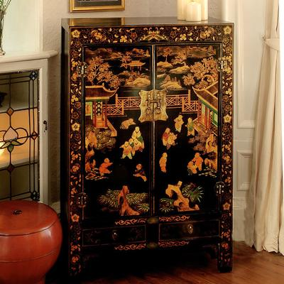 Shanxi Painted TV Cabinet, Black Lacquer image 4
