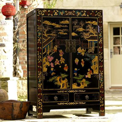 Shanxi Painted TV Cabinet, Black Lacquer image 5