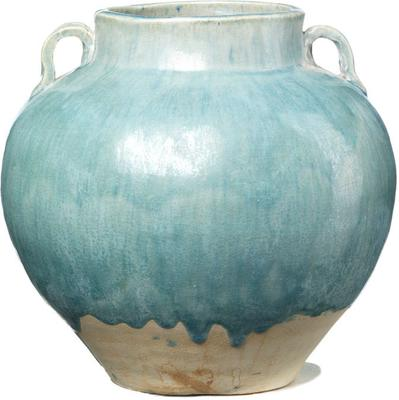 Ceramic Handled Jar - Pale Blue