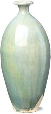 Ceramic Oval Vase - Pale Blue