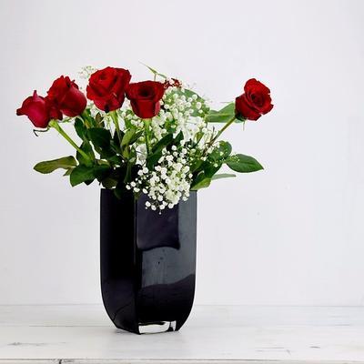 Rectangular Glass Vase Noir