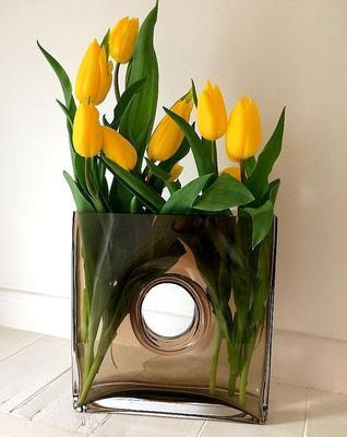 Glass Flower Vase Mocha 25cm High