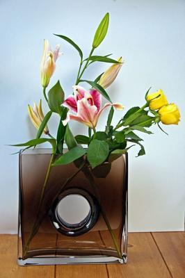 Glass Flower Vase Mocha 25cm High image 3