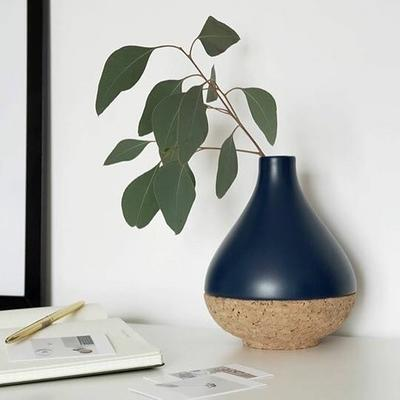 Bloomingville Navy Ceramic Vase with Cork Neck image 2
