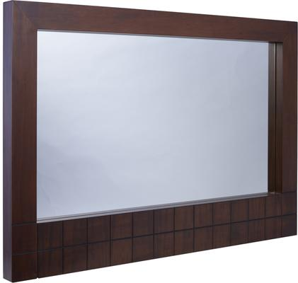 Barcelona Modern Wall Hanging Mirror with Grid Texture - Walnut
