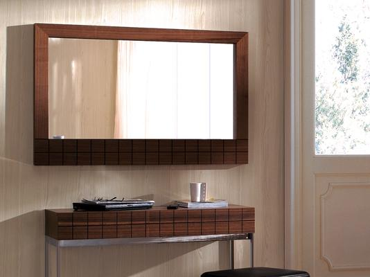 Barcelona Modern Wall Hanging Mirror with Grid Texture - Walnut image 2