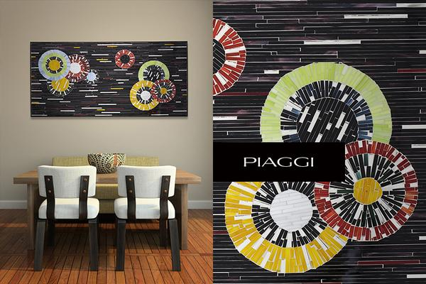 Circles PIAGGI decorative glass mosaic panel