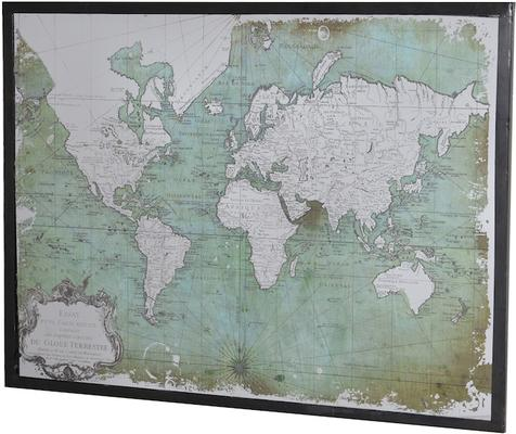 World Map on Mirrored Glass