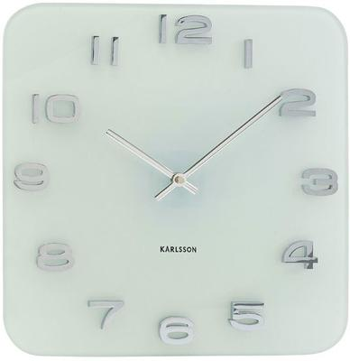 Karlsson Vintage Square Glass Clock (White)