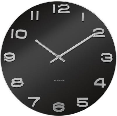 Karlsson Vintage Round Glass Clock (Black)