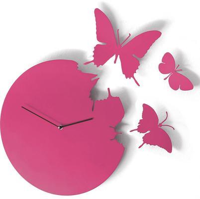 Fuchsia Butterfly Clock