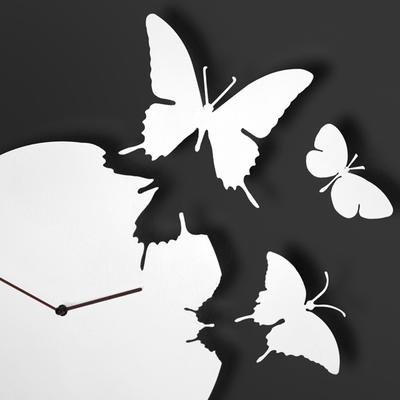 White Butterfly Clock image 2