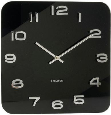 Karlsson Vintage Square Glass Clock - Black