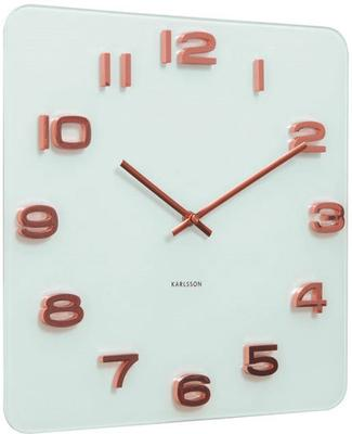 Karlsson Vintage Square Glass Clock - White and Copper image 2