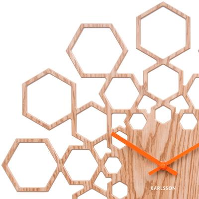 Karlsson Sunshine Hexagon Clock - Wood image 2