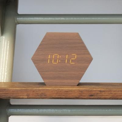 Karlsson Hexagon LED Alarm Clock - Dark Wood image 3