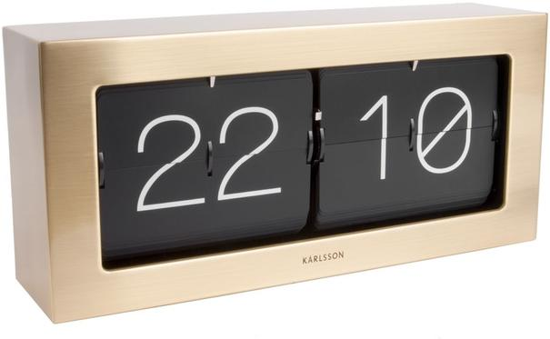 Karlsson Boxed Flip Clock Large - Gold