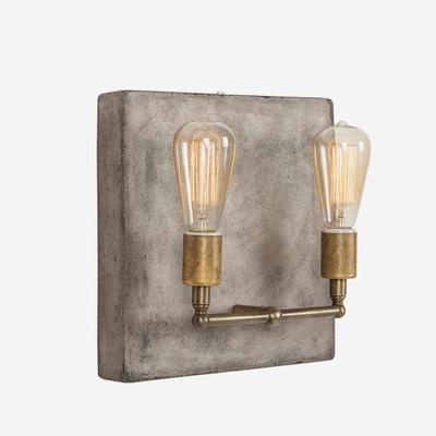 Cameron Double Wall Light Concrete Square Back image 2