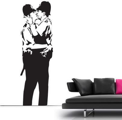 Banksy Kissing Cops Wall Sticker